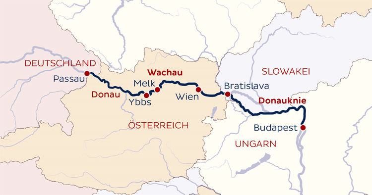 Wachau Karte Donau.8 Tage Donau Schiffsreise Passau Budapest Passau Mit