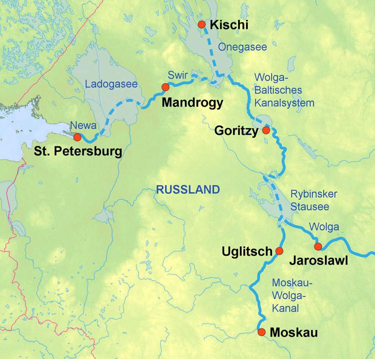 12 Tage Wolga-Schiffsreise Moskau-St. Petersburg mit
